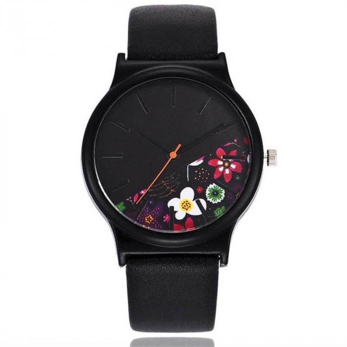 Ceas dama cadran cu flori, curea neagra, material piele 0
