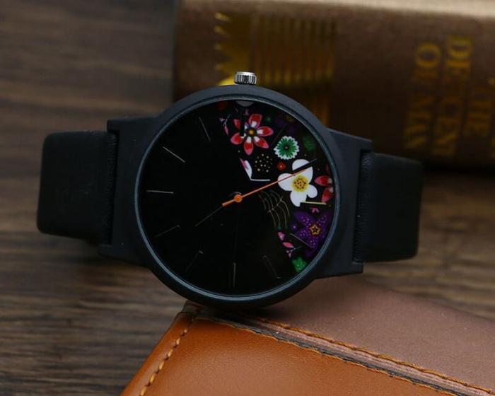 Ceas dama cadran cu flori, curea neagra, material piele 2