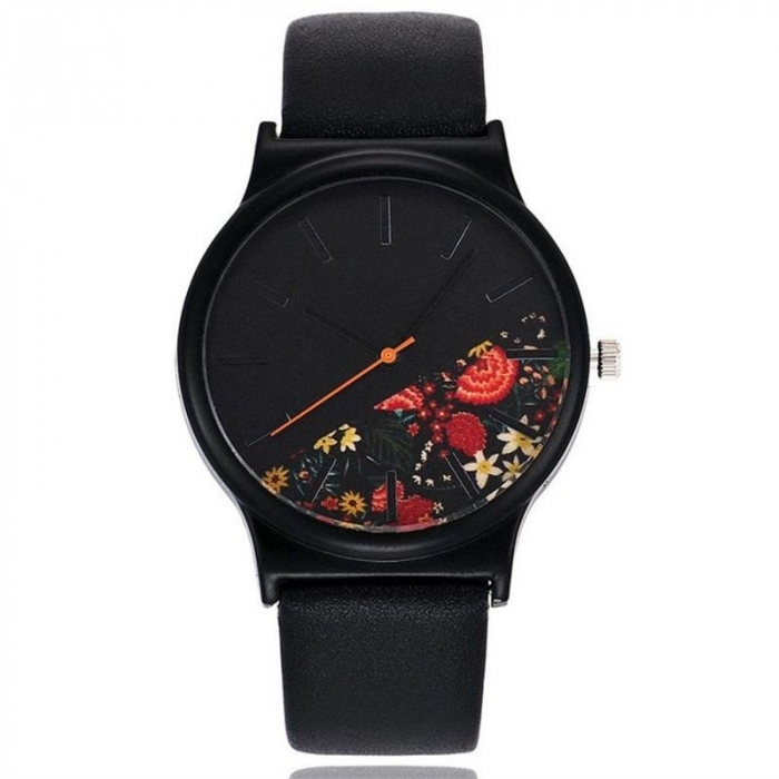 Ceas de dama negru elegant cadran cu flori, mecanism quartz 0