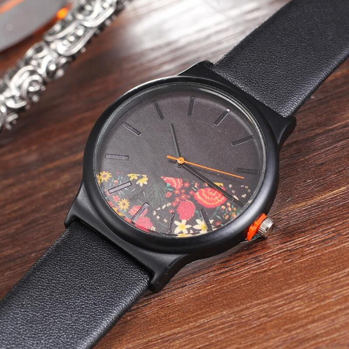 Ceas de dama negru elegant cadran cu flori, mecanism quartz 3