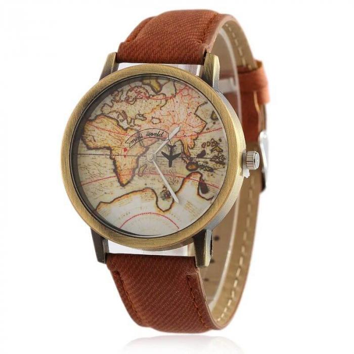 Ceas dama cu harta lumii si secundar avion 2
