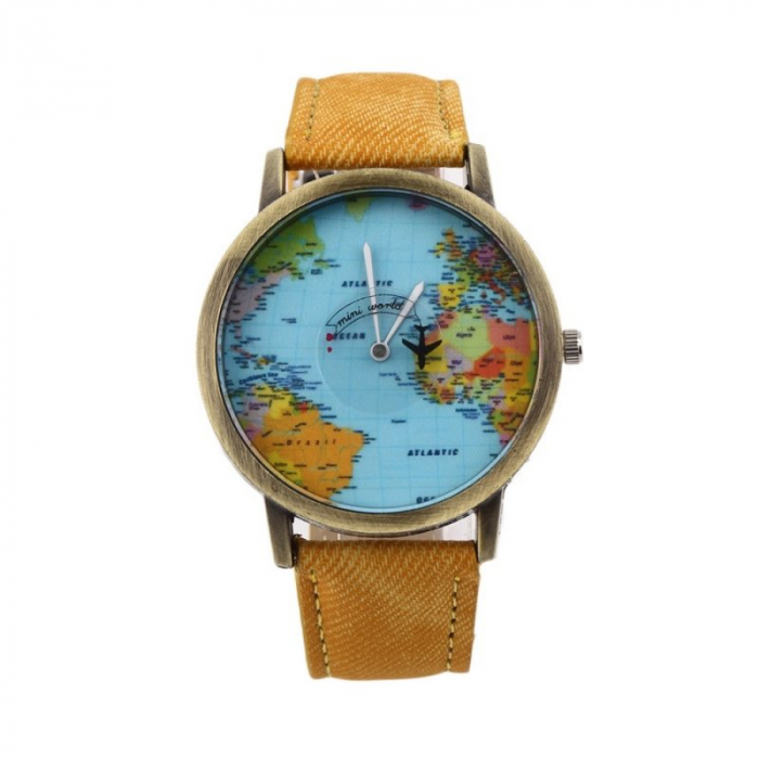 ceas unisex, travel the world cu glob pamantesc si secundar avion 2