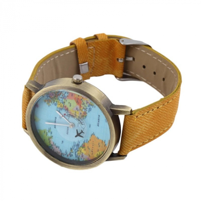 ceas unisex, travel the world cu glob pamantesc si secundar avion 4