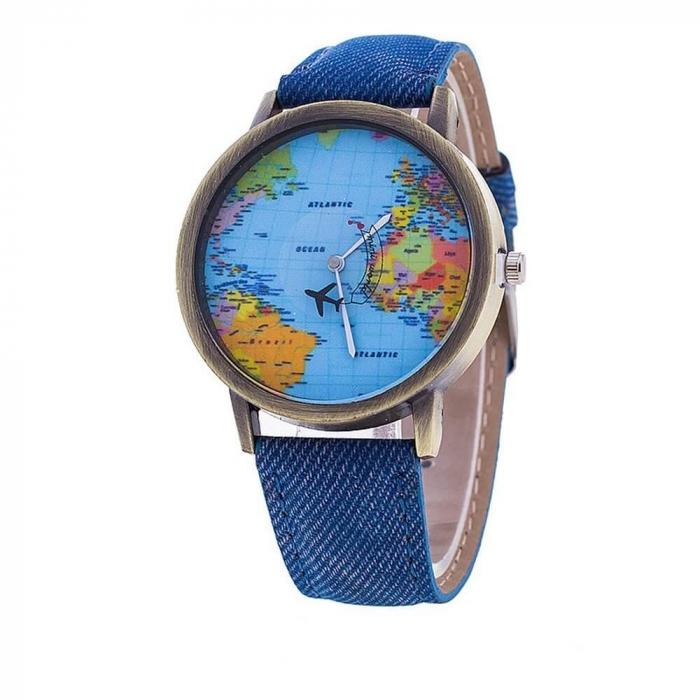 ceas unisex, travel the world cu glob pamantesc si secundar avion 0
