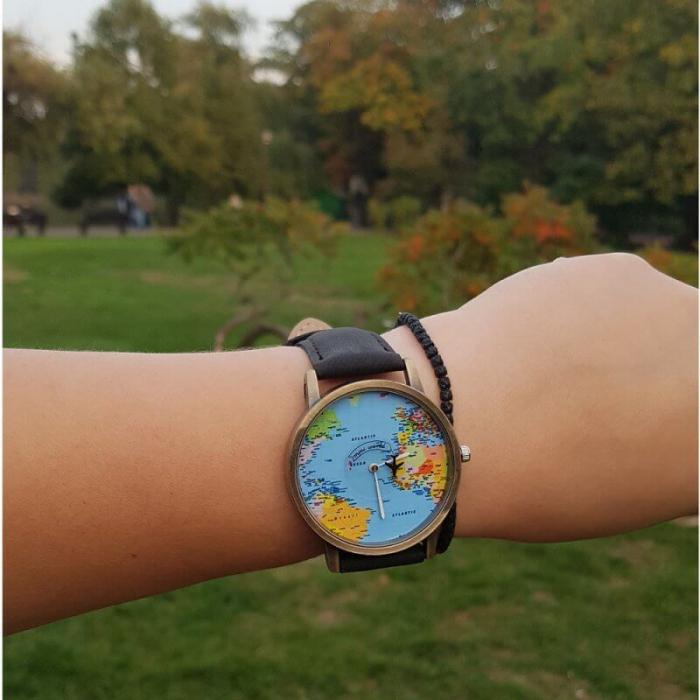 ceas unisex, travel the world, harta lumii si secundar avion 2