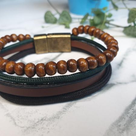 Bratara maro din piele ecologica cu textil si bile din lemn - Vintage Brown1