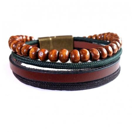 Bratara maro din piele ecologica cu textil si bile din lemn - Vintage Brown0