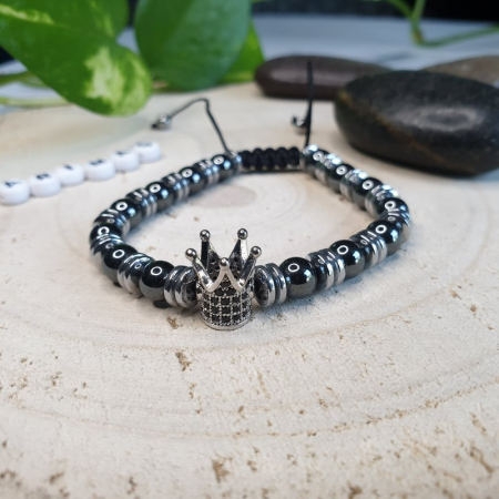 Bratara barbati, coroana, handmade din pietre semipretioase [3]