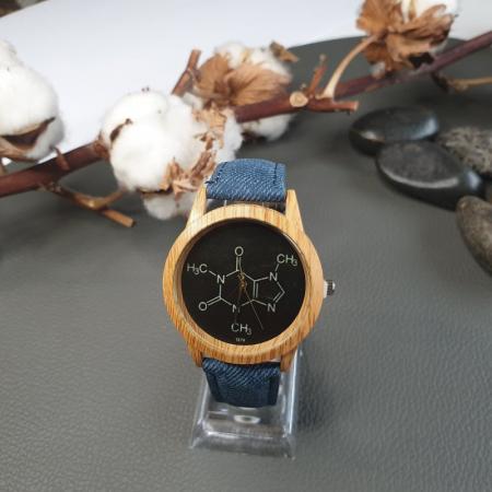 ceas dama cu formula chimica a cafeinei cu cadran negru [4]