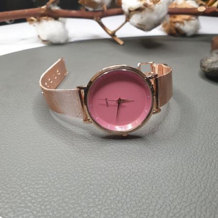 Ceas dama curea metalica, cadran roz3