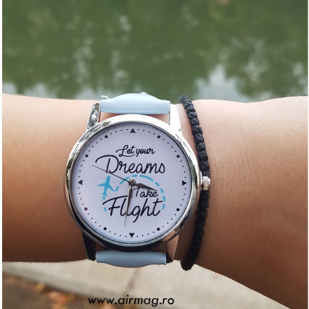 "Ceas mesaj ""Let your dreams take flight""0"
