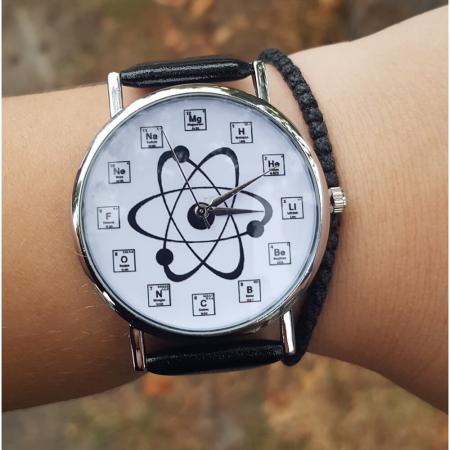 Ceas cu simboluri chimice si structura atom