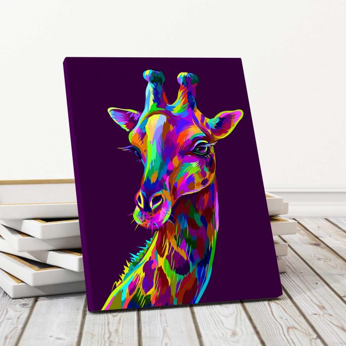 Tablou Canvas Copii - Neon Giraffe 0