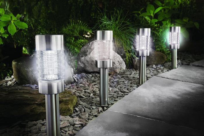 Lampa solara LED, sticla, inox, H 41.5 cm [0]