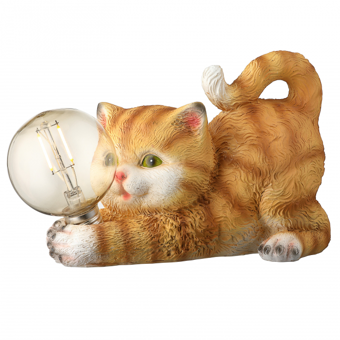 Lampa solara LED filament, pisica, polirasina, H 15 cm [0]