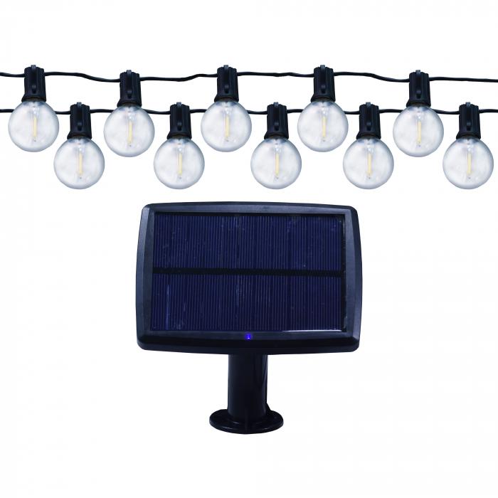 Instalatie cu panou solar LED 10 becuri, 5.5 m, 0.5W, lumina calda, IP65 [0]