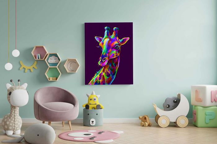 Tablou Canvas Copii - Neon Giraffe 1