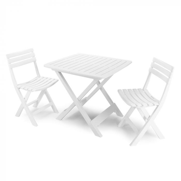 Set masa patrata, cu 2 scaune, pentru gradina, din plastic [0]