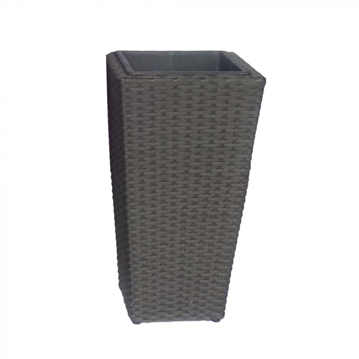 Ghiveci din metal + plastic cu finisaj ratan sintetic, patrat, negru 30 x 30 x 55 cm [0]