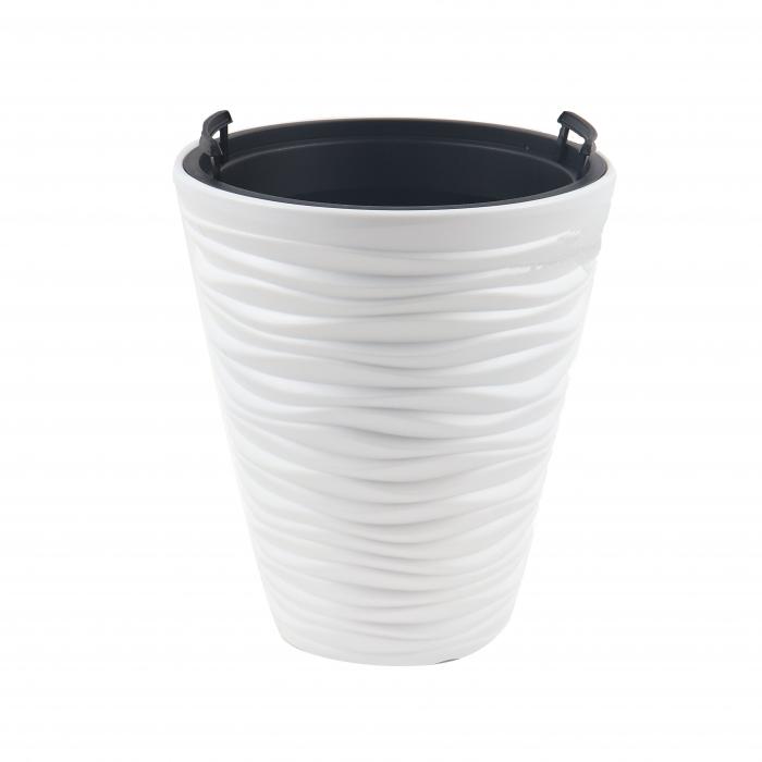 Ghiveci din plastic, alb, D 29.5 cm [0]