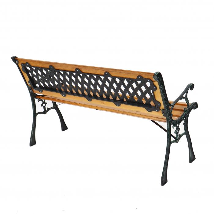 Banca pentru parc, cu spatar, metal + lemn, natur, 127 x 34 x 73.5 cm 1