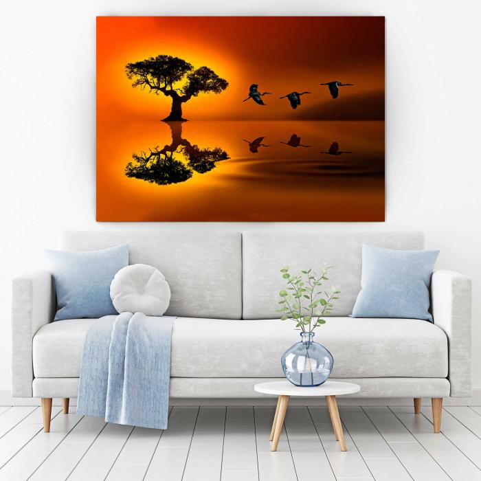 Tablou Canvas - Birds At Sunset [1]