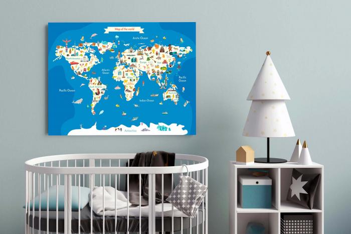 Tablou Canvas Copii - Harta Lumii 2