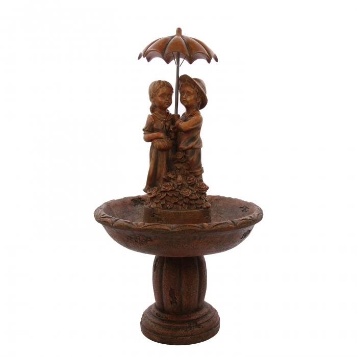 Fantana arteziana Fata si baiat 2, decoratiune gradina, cu pompa recirculare apa, 65 x 116 cm 0