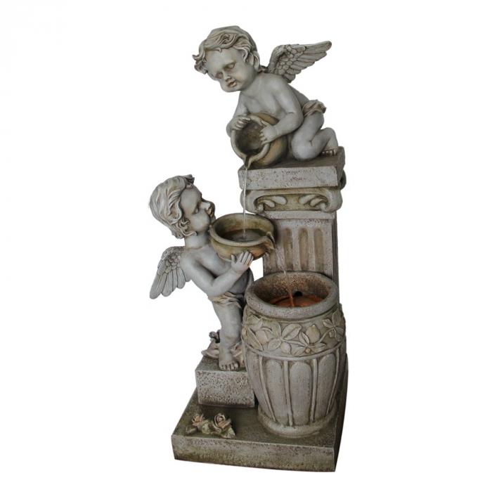 Fantana arteziana Ingeri, decoratiune gradina, cu pompa recirculare apa, 48 x 45.5 x 98 cm [0]