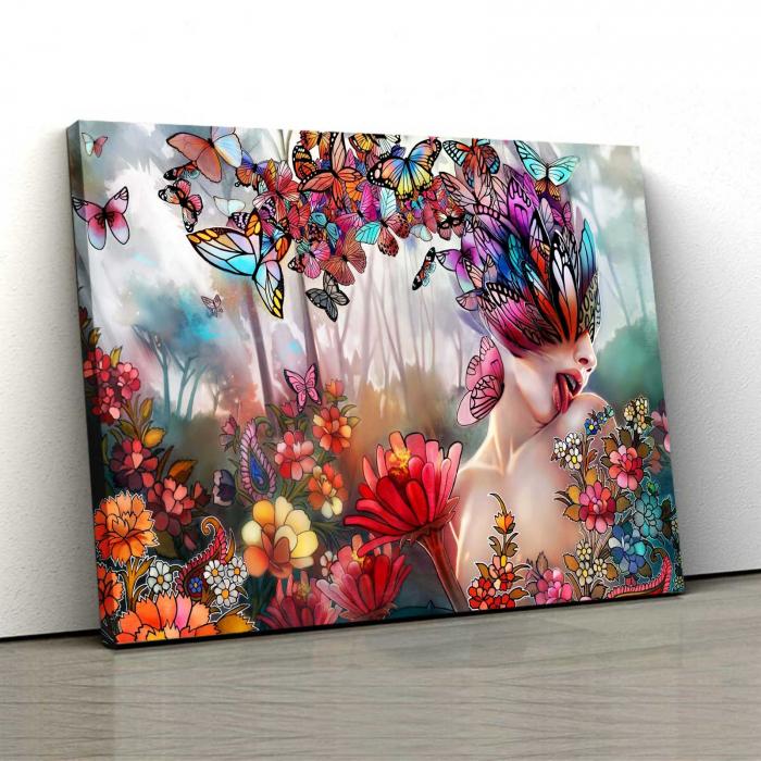 Tablou Canvas - Flori Si Fluturi [0]