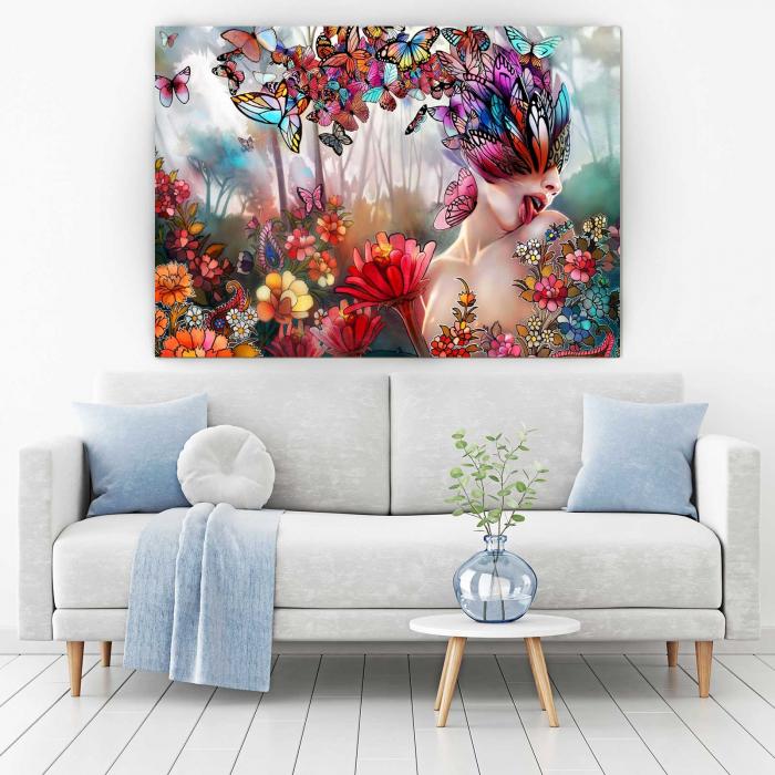 Tablou Canvas - Flori Si Fluturi [1]