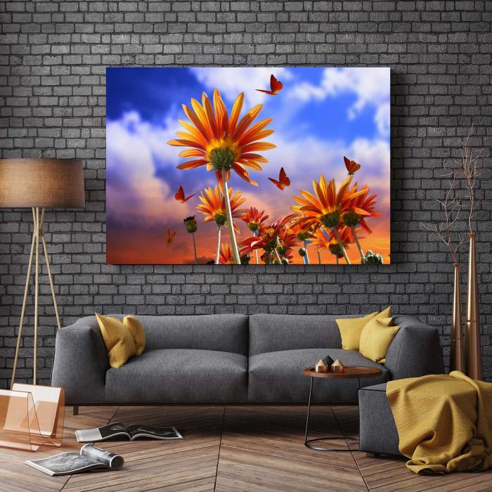 Tablou Canvas - Fluturi Si Flori 2