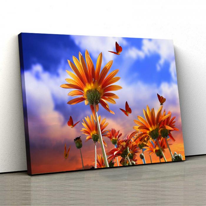 Tablou Canvas - Fluturi Si Flori 0