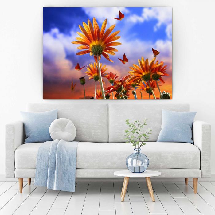 Tablou Canvas - Fluturi Si Flori 1