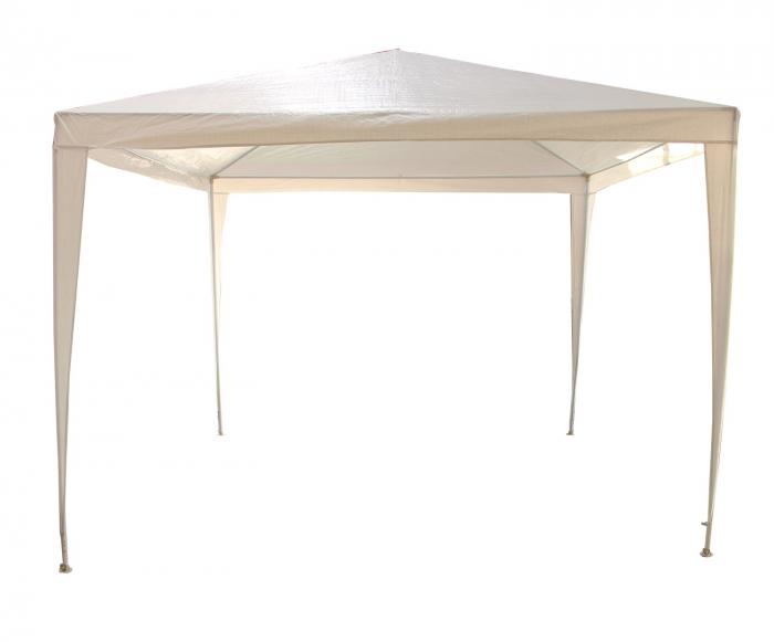 Pavilion gradina, patrat, cadru metalic + polietilena, alb, 3 x 3 m [0]