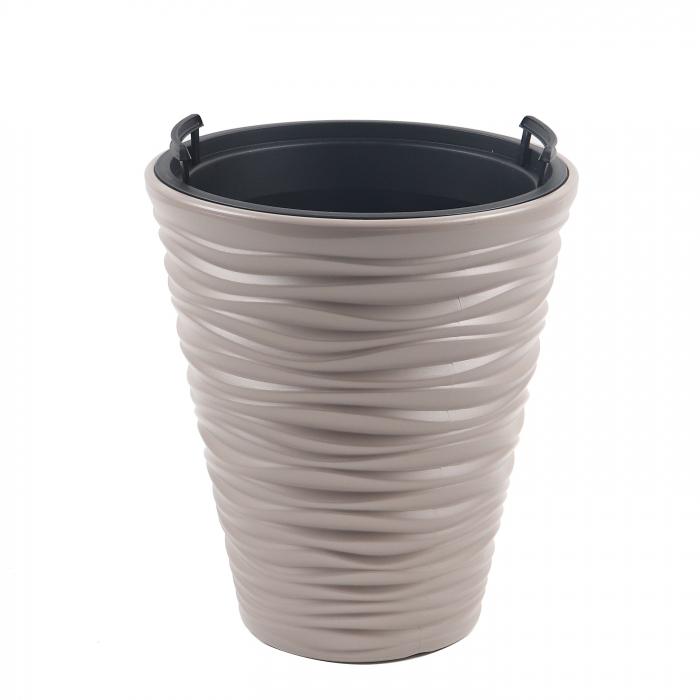 Ghiveci din plastic, mocca, D 29.5 cm [0]
