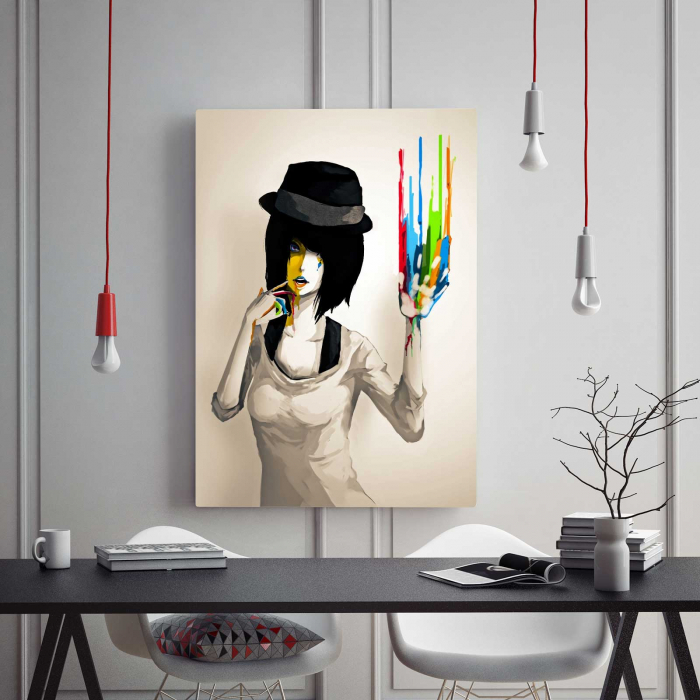 Tablou Canvas - Girl With Hat 1
