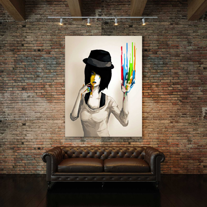 Tablou Canvas - Girl With Hat 2