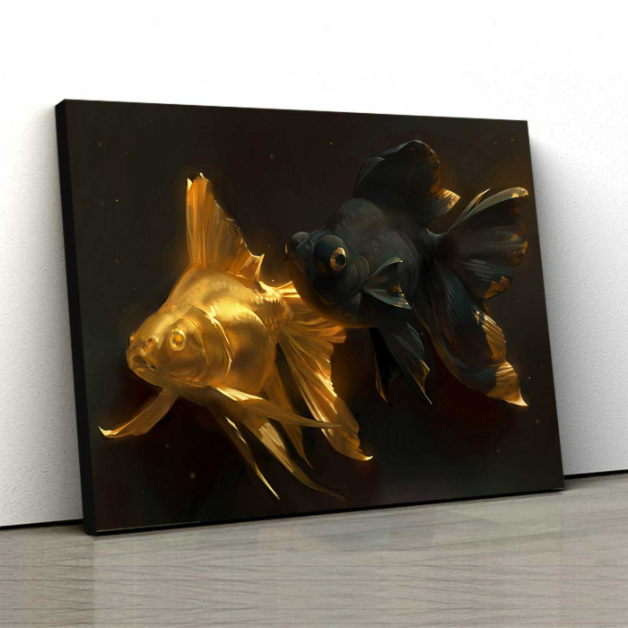 Tablou Canvas - Gold and Black Fish [0]