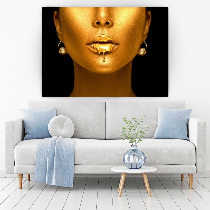 Tablou Canvas - Golden Lips 1