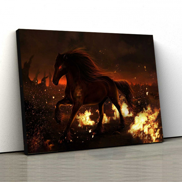 Tablou Canvas - Horse On Fire 0