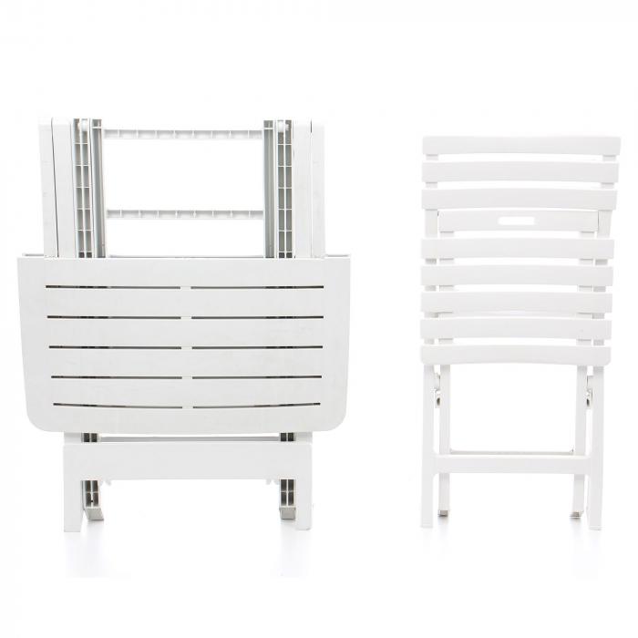 Set masa patrata, cu 2 scaune, pentru gradina, din plastic [1]