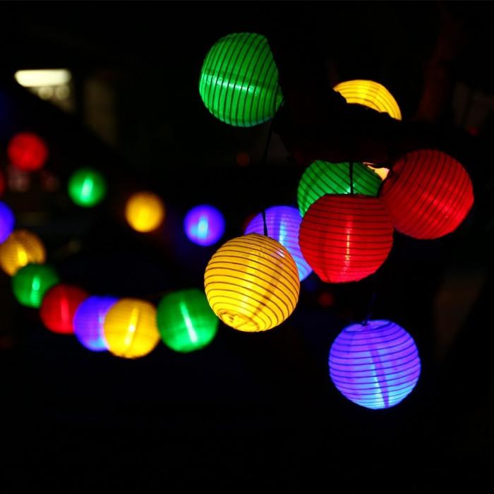 Instalatie solara LED, 10 lampioane colorate [0]