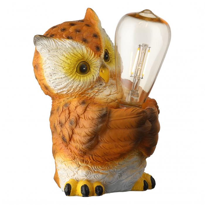 Lampa solara LED filament, bufnita, polirasina, H 21 cm [0]