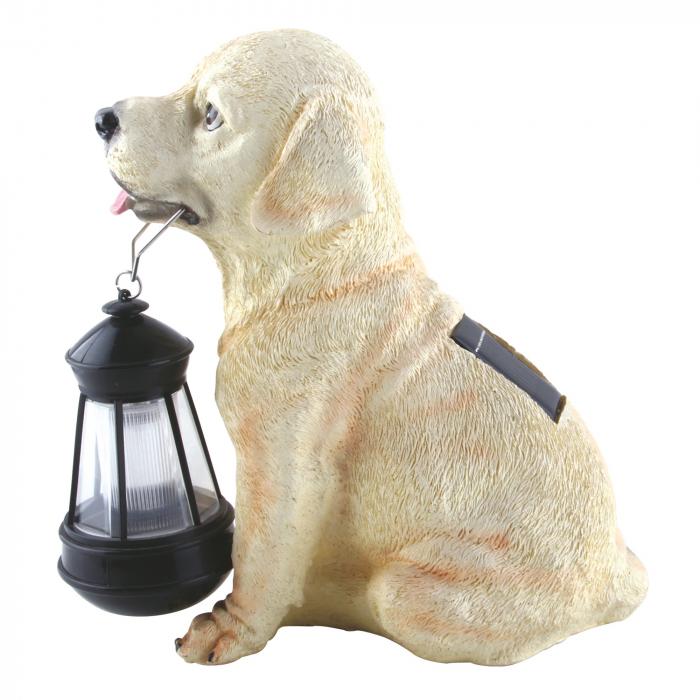 Lampa solara LED, caine cu felinar, rasina, plastic, H 25 cm [0]