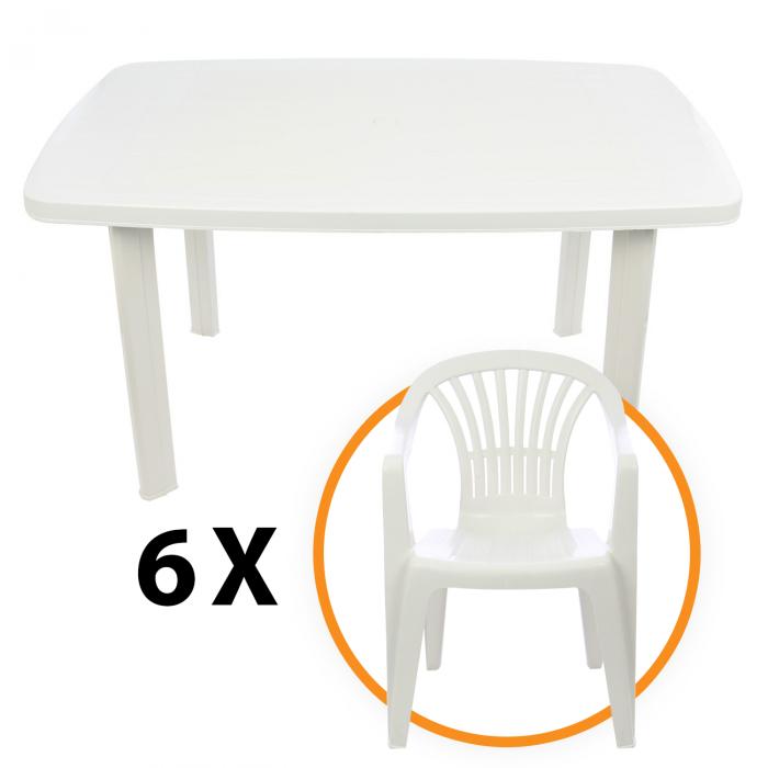 Set masa Alba + 6 scaune Albe, pentru gradina, alb, din plastic 0