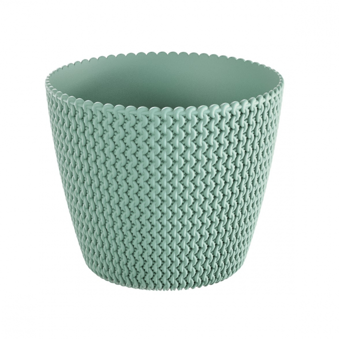 Masca ghiveci, rotunda, plastic, verde, D 13 cm [0]