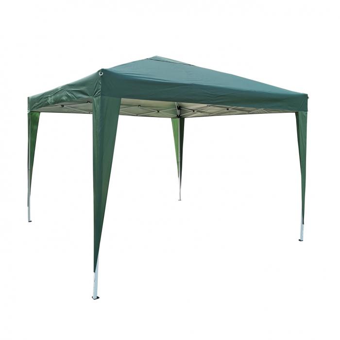 Pavilion gradina, patrat, cadru metalic + poliester, pliabil, verde, 3 x 3 m [0]