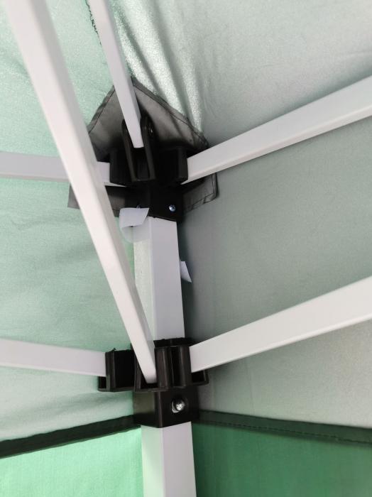 Pavilion gradina, patrat, cadru metalic + poliester, pliabil, verde, 3 x 3 m [3]