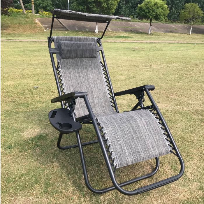 Scaun camping pliant Relax, structura metalica, cu protectie solara, gri, 173 x 109 cm [2]